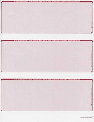 300 checks Blank Security Check Stock Paper - 3 Per Page - (Classic Burgundy)
