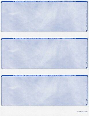 300 checks Blank Security Check Stock Paper - 3 Per Page - (Marble Blue)