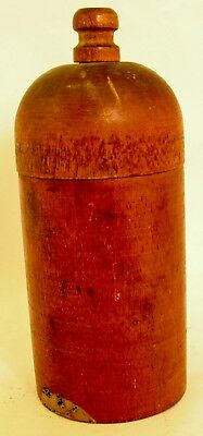 Antique Wood Treenware Covered Vintage Spice Box Container Woodenware Primitive