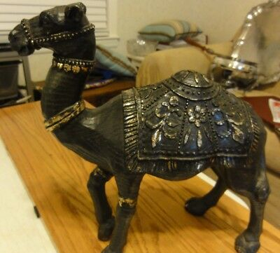 Vintage Metal Cast Parade Camel Statue 12 inches high