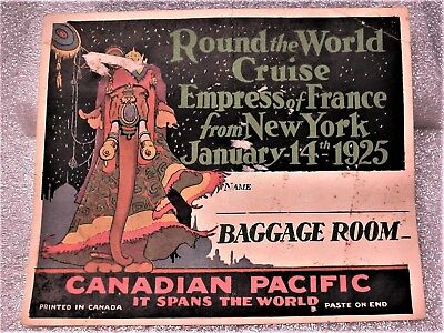 Old Luggage Label 1925 Canadian Pacific Empress of France Cruise Ship Souvenir