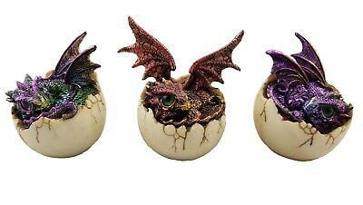 Dragons Hatching out of Egg Dragon Ornament Statue Figurine Sculpture *Set of 3