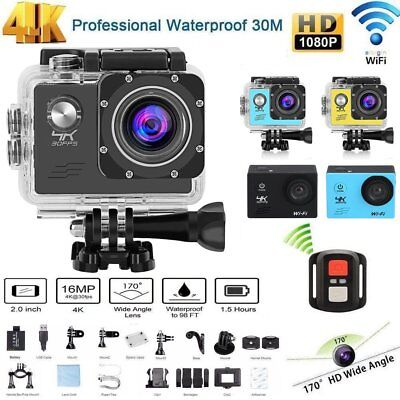 "4K 2"" 16MP 1080P WIFI Waterproof Sports Action Camera DVR  Recorder Go Pro"