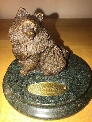 POMERANIAN LIVING BRONZE FIGURINE/Sculpture MOUNTED ON A MARBLE BASE