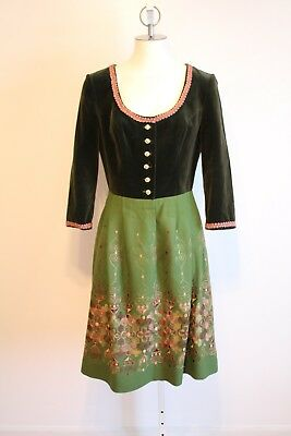 Vintage Dirndl Salzburger Trachten Heller Bavarian Dress With Apron Medium EUC