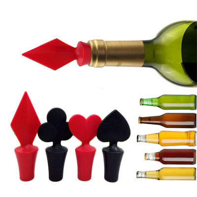 Creative Poker Design Silicone Vacuum Sealed Wine Bottle Cap Stopper Bar Tools