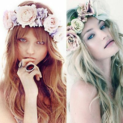 Bridal Boho Floral Flower Crown Headband Garland Wedding Headpiece Hairband TU