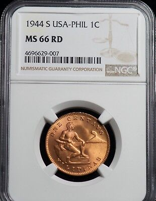 1944 S NGC MS 66 RD United States Philippines One Centavo Coin