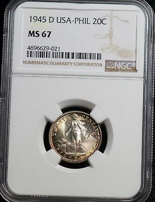 1945 D NGC MS 67 United States Philippines Twenty Centavos 20C Silver Coin