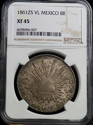1861ZS VL Mexico 8R Eight Reales Silver Coin NGC XF 45