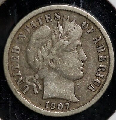 1907 10C Barber Dime Coin