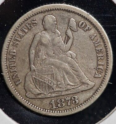 1873 10C Seated Liberty Dime Coin