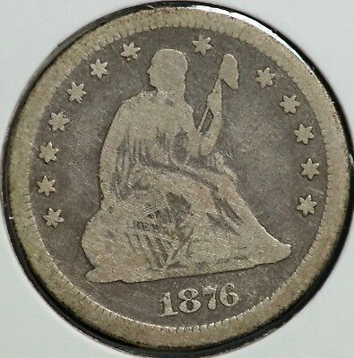 1876 CC Seated Liberty Quarter 25C Coin | KEY DATE