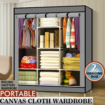 Large Portable Clothes Closet Grey Wardrobe Storage Organizer with Shelves NEW