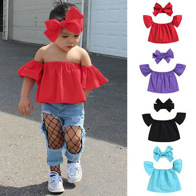 Cute Toddler Baby Kids Girls Off Shoulder Solid T Shirt Summer Clothes Outfits