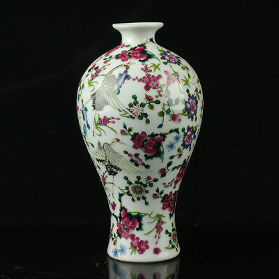 China Colorful Porcelain Painted Flowers Noctilucent Vase The Qianlong Period
