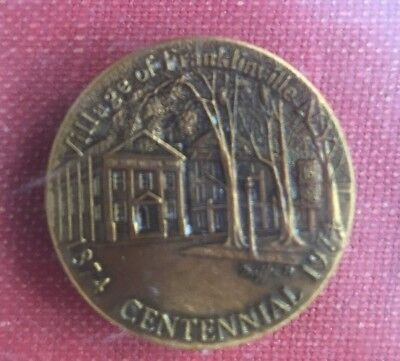 Town Village Franklinville NY Union Bank 1824 1874 1974 Lucite Paperweight VTG