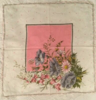 Beautiful Ladies Handkerchief Pink and Purple Flowers Scolloped Edges