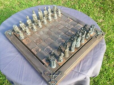 Ornate Chess Set, Board, Pieces &Box Dovetail Extra Large 440x440mm Metal Timber