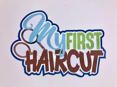 Fully assembled 'My First Haircut' blue scrapbook title