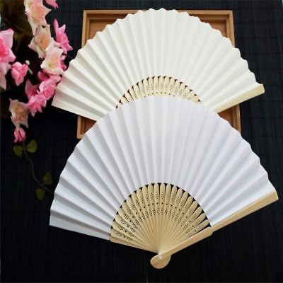 Hand Paper Fans DIY Pocket Folding Bamboo Fan Birthday  Party Wedding Decor