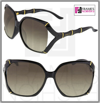 702a41886fc GUCCI Bamboo GG3508S Shiny Black Gold Brown Gradient Oversized Sunglasses  3508