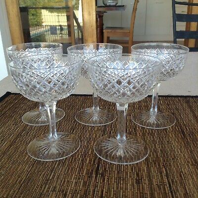 Stunning Vintage Crystal Champagne Glasses Saucers X 5