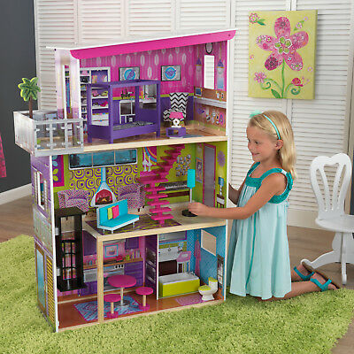 Barbie Girls Dollhouse Kids Playhouse Tall Furniture Wooden Doll House Role Play