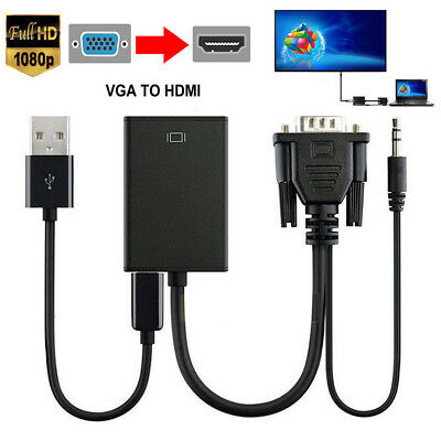 NEW VGA Male To HDMI Output 1080P HD+ Audio TV AV HDTV Cable Converter Adapter