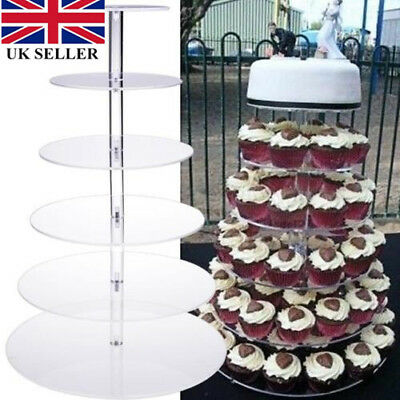Circle Round Acrylic Cupcake Party Wedding Cup Cake Stand Holder Display Uk