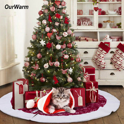 Christmas Tree Skirt Stand Ornaments Base Floor Mat Cover Home Xmas Party Decor
