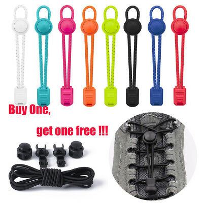 2 X No Tie Elastic Lock Lace System Shoe Laces Shoelaces Runners Kids Adults New