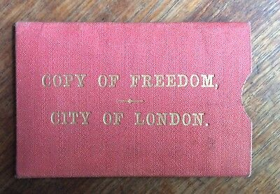 VINTAGE 1920's COPY OF FREEDOM OF THE CITY OF LONDON GIVEN TO MR.W.C.MANNERING