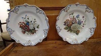 "TRES BELLE PAIRE D'ASSIETTES EN ""FAIENCE FINE"" décor ""BOUQUET"""