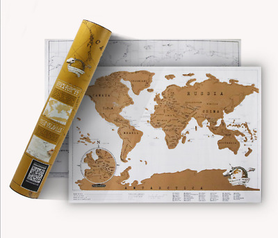 Mini Deluxe Scratch Off World Map Poster Personalised Travel Vacation Log Gift