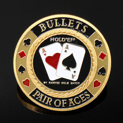 5x Casino Metal Poker Guard Card Protector Coin Chip Gold Plated w/ Plastic Case