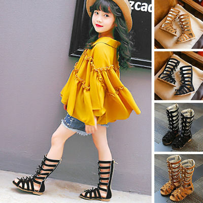 Children Kids Girl Summer Sandals Knee High-Top Shoes Gladiator Suede Zippers