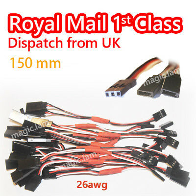 Servo Y Extension Male Female Lead Wire Cable Futaba JR 26AWG 15cm UK Stock