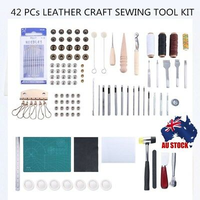 42pcs Leather Craft Punch Tools Stitching Carving Working Sewing Saddle Kits NC