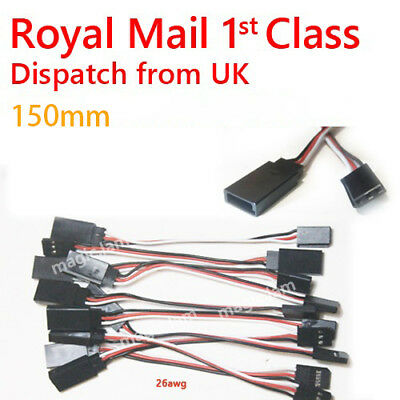 15cm Servo Extension Lead Wire Cable for RC Futaba JR various lengths 26 AWG UK