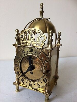 Brass Cased Lantern Clock By Smiths 8 Day Made In England Working Order
