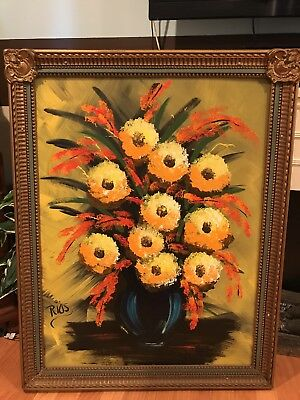 Vintage Floral Oil Painting of Yellow Flowers in Vase With Ornate Frame