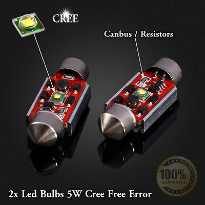 2x Bulbs Number Plate Led 5W CREE White 6000K For MERCEDES CLK W208 1997-2003