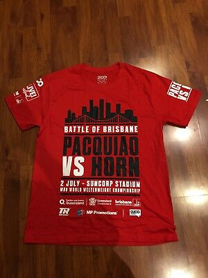 Manny Pacquiao vs Jeff Horn Battle of Brisbane red t-shirt Size M Brand New