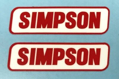 2 x SIMPSON Red/White Helmet Stickers/Decals 50mm x 14mm Printed and Laminated