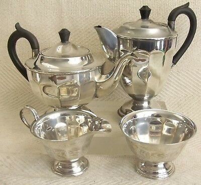 Vintage Viners of Sheffield Silver Plated Four Piece Tea Set Great Condition