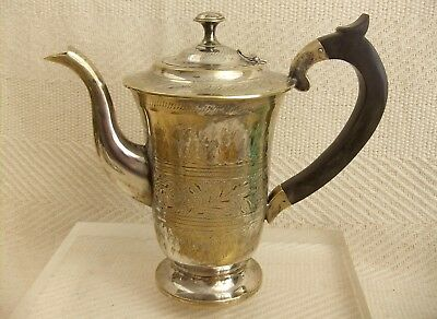 "Heavily Engraved Vintage Silver Plate Middle Eastern Teapot Coffee Pot 6.5"" Tall"
