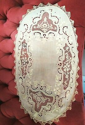 Antique Tambour Lace Centers Needle Lace Placemats Set Of 6 Ivory Handmade Good