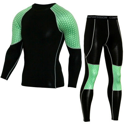 Men Sports Clothing Set Compression Fitness Running Gym Tops Pants Cool Dry Suit