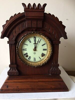 Antique Ansonia Mechanical Brass Movement 8 Day Tunis Mantel Clock  Working